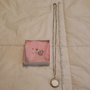 Origami Owl Necklace, locket with charms